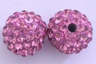 5 Shamballa beads 8mm Round Rhinestones -  Rose
